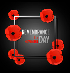 Remembrance day paper cut banner with poppy vector