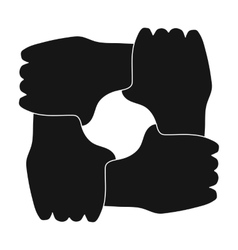 Ring of hands icon in black style isolated on vector