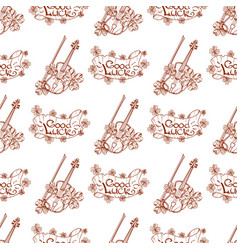Seamless pattern with violin and banner good luck vector