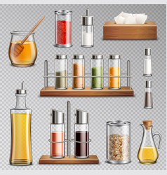 Seasoning spices realistic set transparent vector