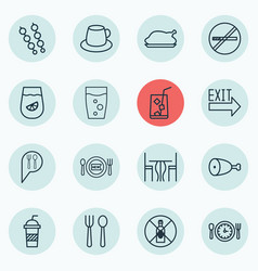 Set of 16 cafe icons includes coffee cup stop vector