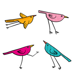 Set of 4 cute birds isolated in white in vector