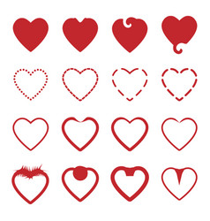 Several style of red heart icons set vector