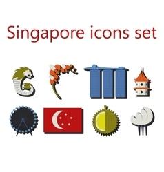 Singapore flat icons set vector