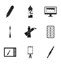 stationery icons set simple style vector image vector image
