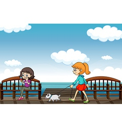 Two girls near the sea vector image vector image