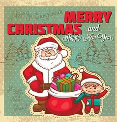 Vintage retro christmas card vector