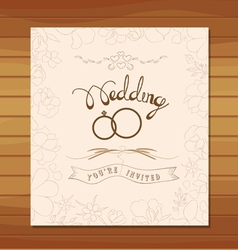 wedding invitation floral retro vector image