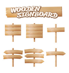 wooden signboards set empty cartoon banner vector image