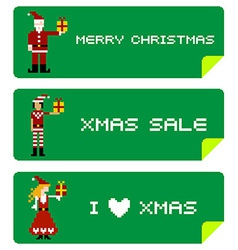 Xmas labels pixel characters vector image vector image