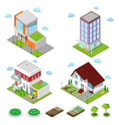 Isometric city buildings set modern houses vector