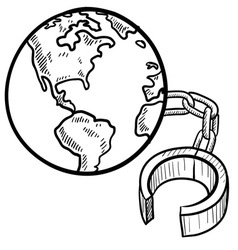 doodle ball chain earth vector image