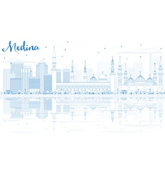 Outline medina skyline with blue buildings vector