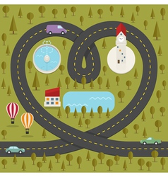 Road in the shape of heart vector