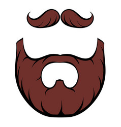 Mustache and beard icon cartoon vector