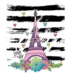 Hand drawn floral love card eiffel tower vector