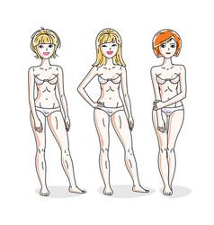 Young beautiful women standing in white underwear vector