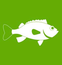 sea bass fish icon green vector image