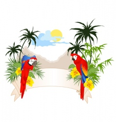 Summer banner with parrots vector