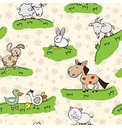 Farm animals on grass vector