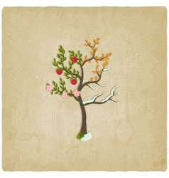 Four seasons trees old background vector