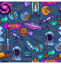 Space sketch seamless pattern vector