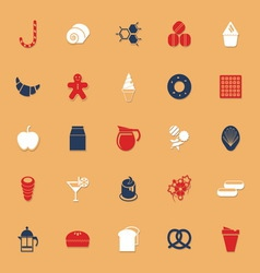 Sweet food classic color icons with shadow vector