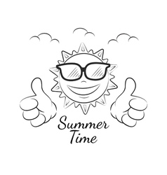 Funny summer sun with thumb up vector image