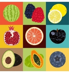 Pop art grunge style fruit poster vector