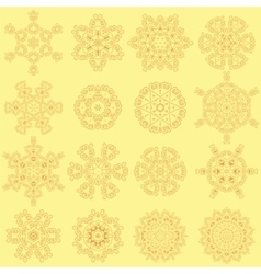 Round geometric ornaments set isolated vector
