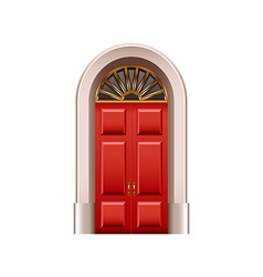 Old red door isolated on white vector