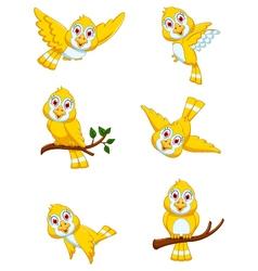 Set of yellow bird cartoon posing vector