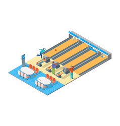 Bowling alley isometric view vector