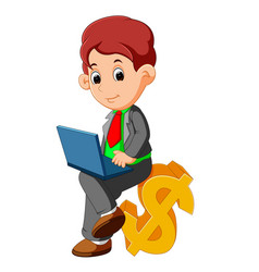 bussinesman sitting dollar sign cartoon vector image
