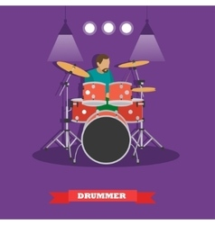 Drummer musician playing drums vector
