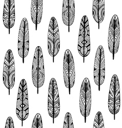 Ethnic geometrical feather seamless pattern vector