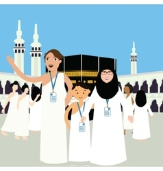Family haj hajj pilgrim man father mother woman vector