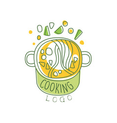 Hand drawn cooking logo original design with soup vector