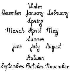 Hand-written names of seasons and months vector