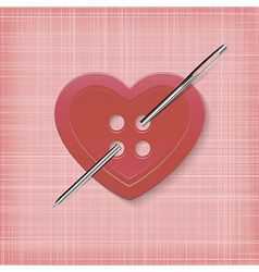 Heart shaped button with a needle on a striped vector image vector image