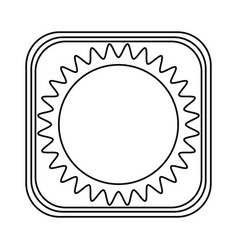 Monochrome rounded square with drawing of sun vector