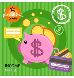 Piggy bank with coins income series vector image vector image