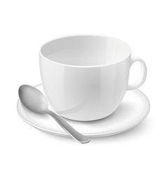 Realistic empty white cup vector image