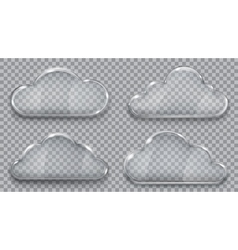 Set of transparent glass clouds vector image vector image