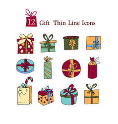 simple set of gifts thin line icons gift vector image vector image