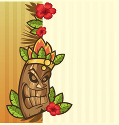 tiki mask with leaves and fire funny cartoon vector image
