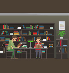 Two boys sit at table and read books in library vector