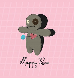 Voodoo doll happy love valentines day vector