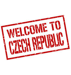Welcome to czech republic stamp vector