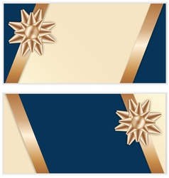 Festive golden bow blue banners vector